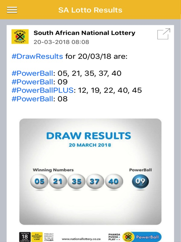 Sa powerball results history, sa powerball plus results history