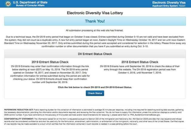 Начало регистрации в лотерее грин кард dv-2021 в 2020 году