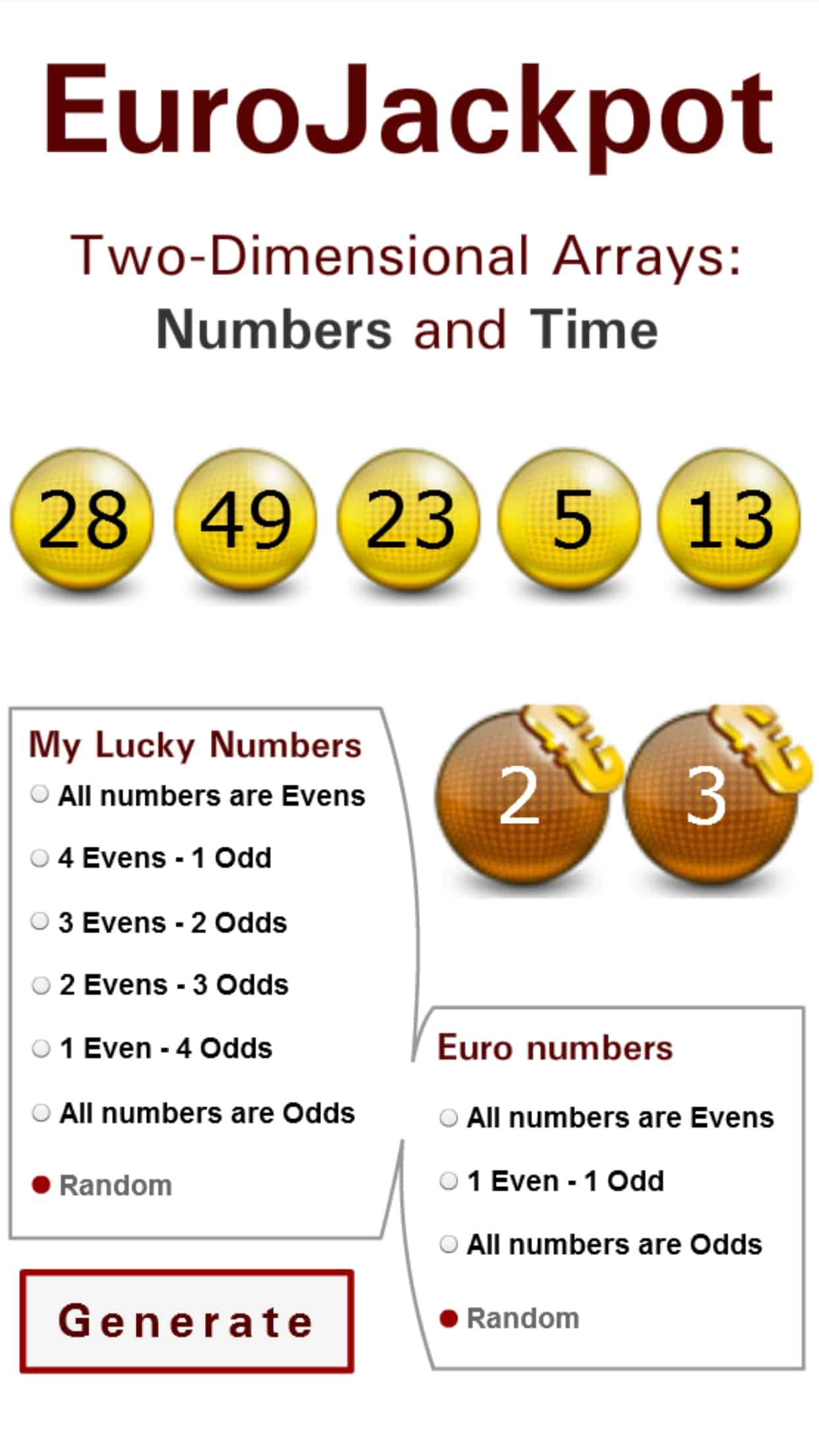 Eurojackpot generator - results and random numbers