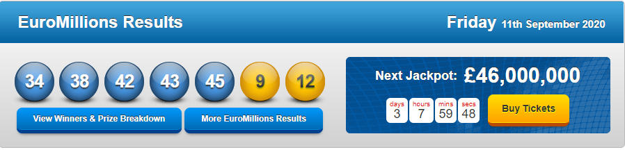 Euromillions results for 3rd february 2017